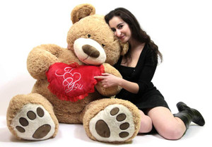 I Love ♥ You Giant Teddy Bear Valentine's Day or Any Day Romantic Gift Five Feet Tall Squishy Soft Holds Big Plush Red Heart Pillow Embroidered With the Phrase I ‰_ YOU