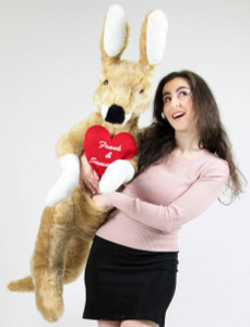 Custom Personalized Giant Stuffed Kangaroo 42 Inch Soft, Your Message Customized on Heart