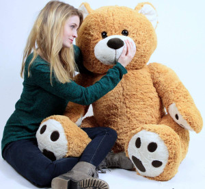 Big Plush Giant Teddy Bear Five Feet Tall Honey Brown Color Soft Smiling Big Teddybear 5 Foot Bear
