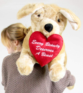 American Made Giant Romantic Stuffed Dog 42 inches Long Golden Labrador Retriever with Heart EVERY BEAUTY DESERVES A BEAST