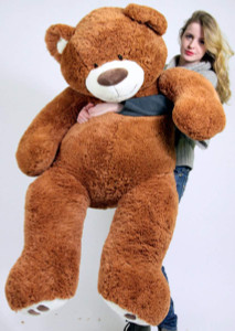Big Plush Giant Teddy Bear Five Feet Tall Cinnamon Brown Color Soft Smiling Big Teddybear 5 Foot Bear