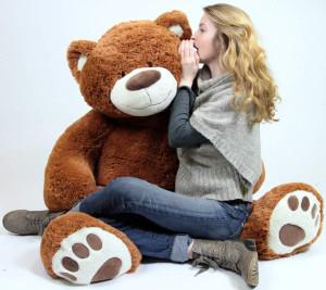 Big Plush Giant Teddy Bear Five Feet Tall Cinnamon Brown Color Soft Smiling Big Teddybear 5 Foot Bear
