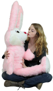 American Made Giant Stuffed Pink Bunny 50 Inch Soft Big Plush Rabbit Made in USA America