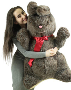 American Made Giant Stuffed Bunny 42 Inch Soft Brown Plush Rabbit