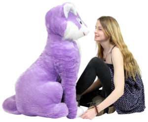 American Made Giant Stuffed Purple Cat 40 Inches Soft Oversize Plush Kitten Feline Kitty