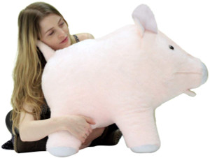 American Made Giant Stuffed Pink Pig 27 inch Soft Made in USA America