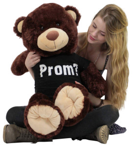 Prom Giant Teddy Bear 36 Inches Wears Black Prom Tshirt Imprinted with the Word PROM
