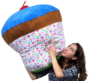 Giant Stuffed Cupcake With Cherry on Top 3 Feet Tall Squishy Soft Huge Stuffed Animal Fun Gift