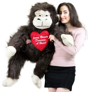 Romantic Giant Stuffed Monkey 40 inch Soft, Embroidered Heart Says EVERY BEAUTY DESERVES A BEAST