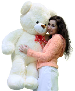 Big Soft Teddy Bear 40 Inches Tall Squishy Soft White Color Huge Smiling Stuffed Animal