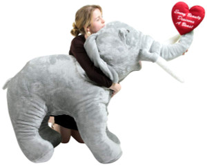 American Made Giant Stuffed Love Elephant 48 Inches Holds Embroidered Heart That Says Every Beauty Deserves A Beast