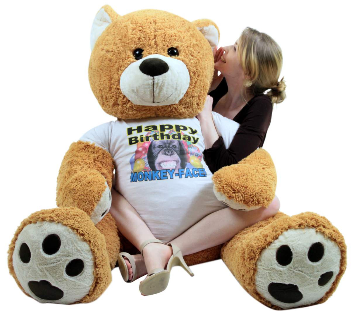 giant happy birthday teddy bear 55 inches honey brown color wears