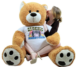 Giant Happy Birthday Teddy Bear 55 Inches Honey Brown Color Wears Tshirt that says HAPPY BIRTHDAY MONKEY FACE