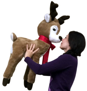 American Made Giant Stuffed Reindeer Christmas Plush 37 Inches Made in the USA America