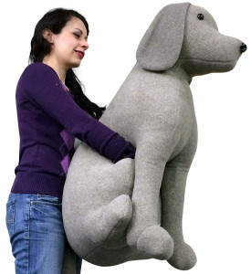 American Made Giant Stuffed Gray Dog 36 Inch Soft 3 Foot Big Plush Animal