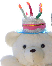 Add a Birthday Cake Hat to YOUR Big Plush Animal - We will Attach the Pumpkin Hat to YOUR Animal's Head Before we Ship - Hat Can Later be Removed Without Damaging the Stuffed Animal