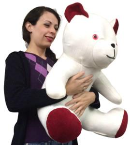 American Made Jumbo White Teddy Bear 24 Inch Big Stuffed Cuddle Buddy