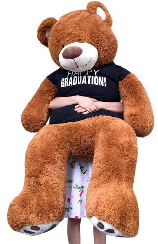 Big Plush 5 Foot Graduation Teddy Bear Soft, T Shirt Says HAPPY GRADUATION