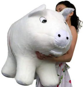 American Made Giant Stuffed White Pig 32 Inches Soft Made in the USA America