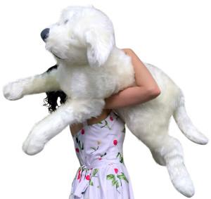 American Made Jumbo White Stuffed Dog Soft 42 Inch Big Plush Puppy