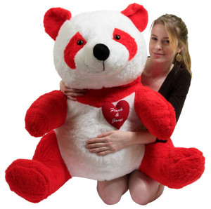 Custom Personalized Giant Stuffed Red Panda Bear 32 Inch Soft with Heart to Express Love