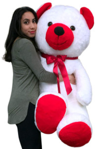 American Made 5 Foot Giant Teddy Bear Soft Red and White 60 Inch Big Plush Valentine