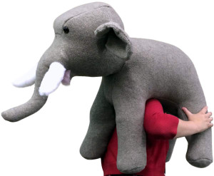 American Made Oversized Stuffed Elephant 36 Inch Gray Soft Large Plush