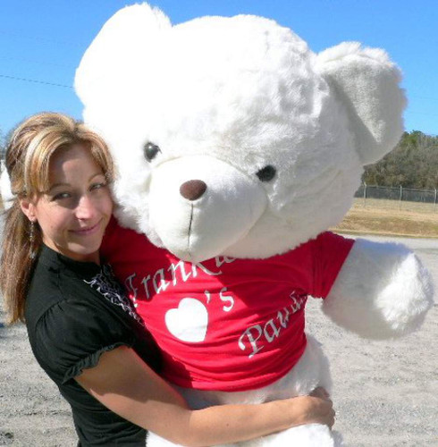 personalized 4 foot teddy bear wears personalized tshirt imprinted