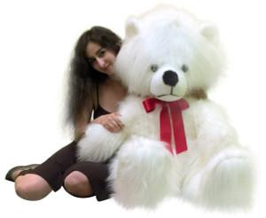 American Made 63 Inch Giant Teddy Bear White Long Fur Soft Stuffed Animal