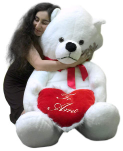 Big Plush Giant Teddy Bear 62 Inch Soft White Holds TE AMO Heart Pillow Made in USA