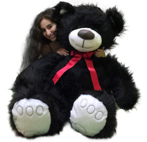 5 Foot American Made Giant Black Teddy Bear 60 Inch Soft Made in USA