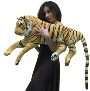 Giant Realistic Stuffed Tiger 36 Inches Long Body Plus 20 Inch Tail Oversized Plush Animal