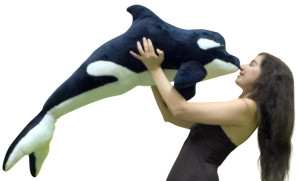 American Made Giant Stuffed Whale 45 Inches Soft Black and White Color Made in USA