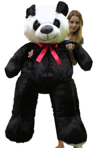 American Made Giant Stuffed Panda Bear 60 Inch Soft 5 Foot Teddybear Black Chest