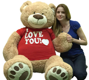 I Love You Giant 5 Foot Teddy Bear Soft 60 Inch Wears I Love You T-shirt Weighs 16 Pounds