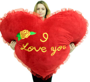 Jumbo Heart Pillow 42 Inches Embroided Rose I Love You, Soft Huge Romantic Gift