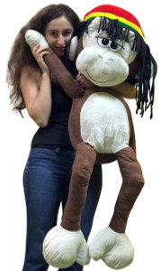 Giant Stuffed Monkey 48 Inches Jumbo Plush 4 Foot Big Stuffed Rasta Primate Brown Color
