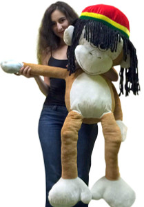 Giant Stuffed Rasta Monkey 48 Inch Soft Jumbo Plush 4 Foot Light Brown Color