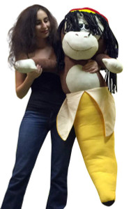 Giant Stuffed 4 Foot Rasta Monkey Banana 48 Inch Soft Huge Big Plush Primate Fruit