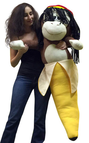 Giant Stuffed Rasta Banana Monkey Big Plush Animal Toy