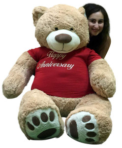 Happy Anniversary Giant 5 Foot Teddy Bear 60 Inch Soft T-Shirt Says HAPPY ANNIVERSARY