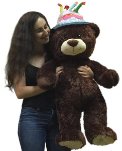 Happy Birthday Giant 3 Foot Teddy Bear 36 Inch Soft Wears Birthday Cake Hat