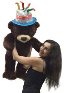 Happy Birthday Giant Teddy Bear 36 Inches Tall Soft Wearing Birthday Cake Hat on Head