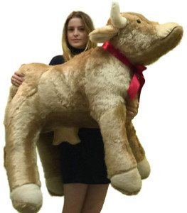 American Made Giant Stuffed Brown Cow 42 Inch Big Plush Farm Animal Soft Made in USA