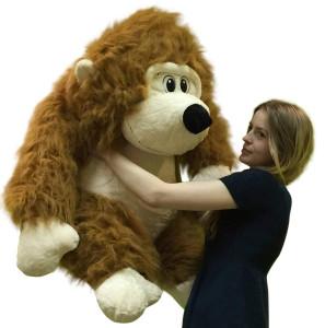 Large Stuffed Gorilla Long Brown Fur Big Plush Gorilla Ape 30 inches Soft