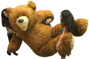 American Made 9 Foot Soft Giant Teddy Bear 108 Inches Honey Brown Long Fur BIGGEST TEDDY BEAR IN THE WORLD