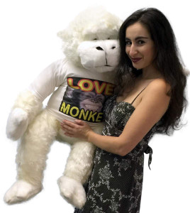 American Made Jumbo Stuffed White Gorilla Wearing LOVE MONKEY T-shirt 40 Inches Soft Plush
