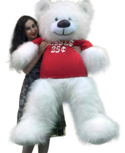 American Made Giant White Teddy Bear 55 inches Wears Tshirt KISSES 25 CENTS