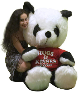 American Made Giant Stuffed Panda Soft Huge 54 Inches Wears HUGS AND KISSES XOXO T-shirt