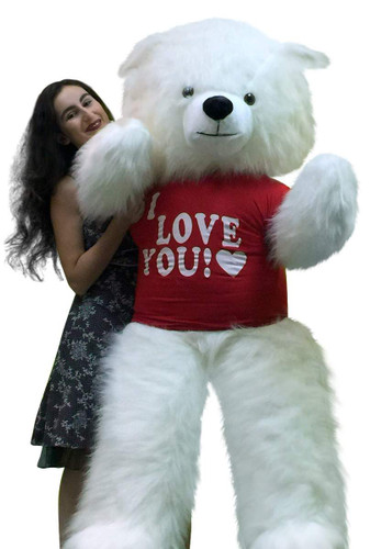 american made giant 6 foot white teddy bear wears i love you t shirt